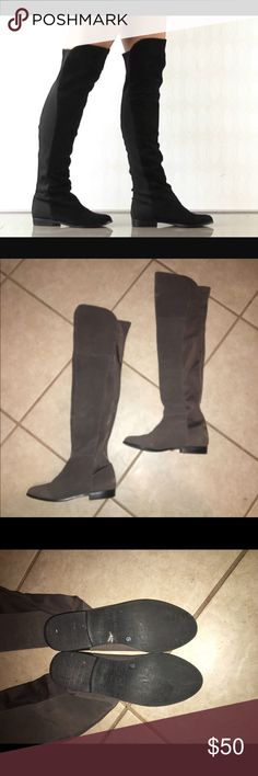 Chinese Laundry Riley Over the Knee Boots Smoke colored Chinese Laundry boots only worn once. In perfect condition. Shaft is 23''. Chinese Laundry Shoes Over the Knee Boots
