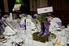 Purple wellies table centrepiece