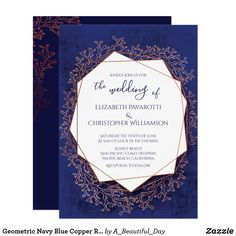 Geometric Navy Blue Copper Rose Gold Beach Wedding Invitation