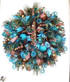 Deco Mesh Wreath Any Holiday Wreath Peacock by SeasonalWreaths
