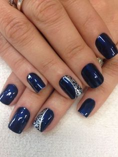 Best Art Designs For Dark Blue Nails - Nails - Best Nail World Navy And Silver Nails, Dark Blue Nails, Navy Nails, Silver Nail Designs, Nail Art Designs, Nails Design, Stylish Nails, Trendy Nails, Glitter Nail Paint