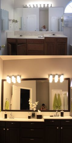 Master bath before/after. Removed the medicine cabinets, painted the walls, resurfaced the cultured marble countertop to a plain white, replaced faucets and light fixtures, framed the mirror with a MirrorMate frame, painted the cabinets with Rustoleum Cabinet Transformation Kit, and added new cabinet hardware. From builder-grade to contemporary!