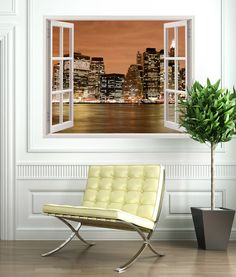 Vinyl that simulates a window in which we can see the splendor of the port of Manhattan \(New York\). Barcelona Chair, Window Wall, Wall Stickers, Lounge, Windows, Poster Xxl, Bedroom, Perfect Image, Manhattan