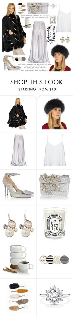 """""""Amelie Cashmere Cape with Fox & Swarovski Crystals in Black"""" by furhatworld ❤ liked on Polyvore featuring Dana, FRR, Etro, Alice + Olivia, Jimmy Choo, Dsquared2, Diptyque, Nambé, Kate Spade and furhatworld"""