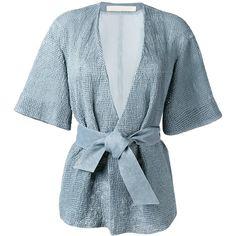 Drome Belted Kimono Jacket (27,550 MXN) ❤ liked on Polyvore featuring outerwear, jackets, blue kimono jacket, drome, fur jacket, blue kimono and belted jacket
