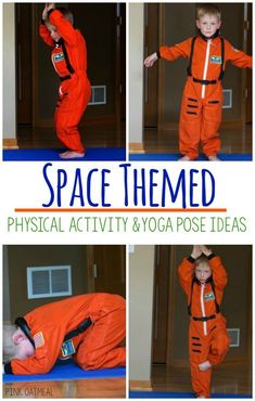 Spaced themed yoga is perfect for gross motor, kinesthetic learning, and sensory play. These ideas a Physical Activities For Kids, Gross Motor Activities, Physical Education Games, Toddler Activities, Health Education, Dementia Activities, Elderly Activities, Movement Activities, Character Education