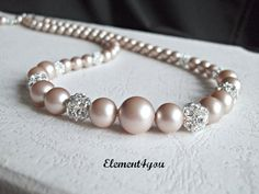 Bridal pearl necklace Rhinestone ball Vintage Swarovski champagne pearls Beaded Wedding jewellery Elegant Maid of honor gift Bridesmaid