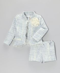 This Blue & Crème Tweed Jacket & Shorts - Toddler & Girls by Mia Belle Baby is perfect! #zulilyfinds
