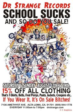 """Dr. Strange Records: It's Time!! Dr. Strange Records """"School Sucks and So Do You"""" Annual Back to School Sale!! IN-STORE/ONLINE Fri & Sat Aug. 17- 18"""