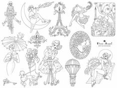 Bonjour Embroidery Pattern...this would be fun to do on a quirky set of kitchen towels!