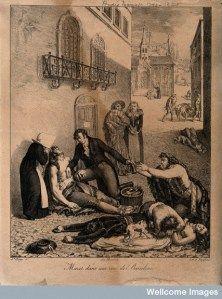 André Mazet atendiendo a los enfermos de fiebre amarilla en Barcelona, litografía de Jacques-Etienne-Victor Arago (S. XIX)