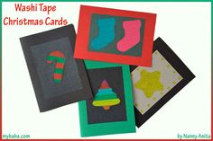 Use washi tape to make homemade christmas cards.  A great christmas craft for kids.