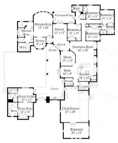 New fav  Mike's mom could live in the guest house. Perfect  First Floor Plan of Florida   Mediterranean   House Plan 64646