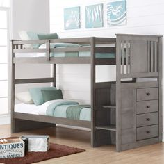 Donco Kids Twin over Twin Stairway Bunk Bed - Slate Gray - 2204SG
