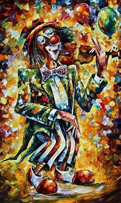 CLOWN - original art oil painting by Leonid Afremov by Leonid  Afremov