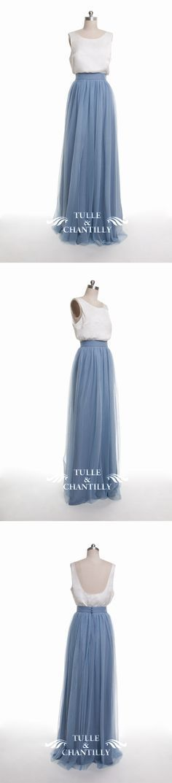 dusty blue tulle bridesmaid dress 2016