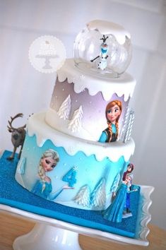 Frozen cake inspiration eliza frozen birthday cake for girls Torte Frozen, Bolo Frozen, Disney Frozen Cake, Frozen Theme Cake, Frozen Themed Birthday Party, Disney Frozen Birthday, Disney Cakes, 4th Birthday, Cake Birthday