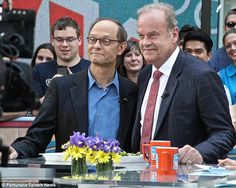 Reunited: Kelsey Grammer, 60, and David Hyde Pierce, 56, reunited on Access Hollywood Live at the Rockefeller Plaza in New York City on Friday