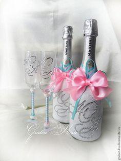 """Купить Свадебное шампанское """"Карамельки"""" - бирюзовый, розовый, шампанское, шампанское на свадьбу, свадебные аксессуары"""