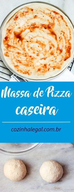 Massa de pizza caseira para iniciantes • Cozinha Legal Receita Mini Pizza, Calzone, Deli, Gluten Free Recipes, Yummy Food, Ethnic Recipes, Mini Pizzas, Homemade Pizza Recipe, Frozen Pizza