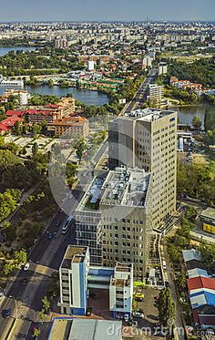 Bucharest, Romania - August 16, 2013: Aerial view over Barbu Vacarescu avenue and modern business center building in the Bucharest North Side.