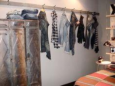 teen boys room locker dresser like the idea of hangin stuff up like this...