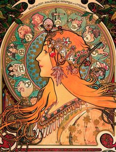 Alphonse Mucha, Zodiac, 1896. Color on lithograph