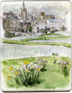 Serpentine Road, Rothesay; sketch by Wil Freeborn