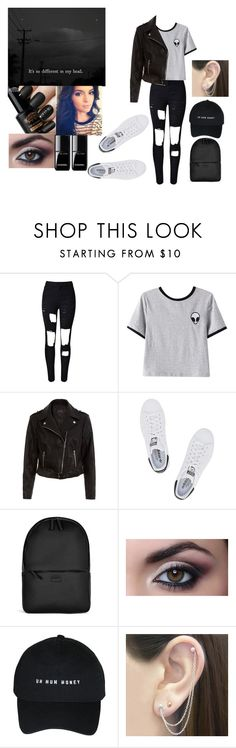 """""""It's so different in my head"""" by mm2004 ❤ liked on Polyvore featuring WithChic, Chicnova Fashion, adidas Originals, Rains, Otis Jaxon, deep, quote, hightops and relatable"""