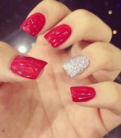 Red Hot Party Nail Design with One White Glitter Nail
