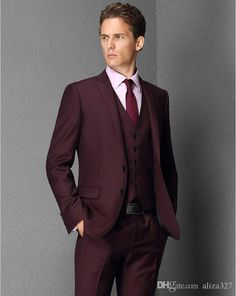 Best Quality In 2016 The Most Handsome Man Leisure Suit Three Piece Fashion Two Grain Of Buckle Wine Red Suit Elegant Pure Color Fashion Men Suits At Cheap Price, Online Men's Suits & Blazers | Dhgate.Com