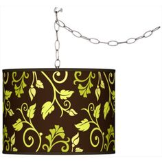 Swag Style Foliage Shade Plug-In Chandelier
