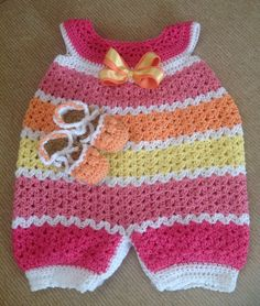 Crochet infant romper with matching espadrilles