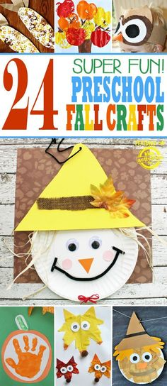 24 Super Fun Preschool Fall Crafts! Make a scarecrows, foxes, play with leaves and owls, make a handprint keepsake and more!