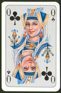 Queen of Clubs ~ Walter Kraus Playing Card Crafts, Cool Playing Cards, Custom Playing Cards, Vintage Playing Cards, Cool Cards, Bridge Card Game, Deck Of Cards, Card Games, Game Cards