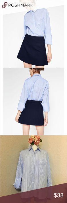 💙ZARA TRAFALUC CUFFS OVERSIZED SHIRT💙 In GREAT CONDITION NEVER WORN! Zara oversized Hi low striped button down   bell sleeve shirt ! Zara Tops Button Down Shirts