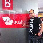 I'm a bad boy! Was just forced not to wear my T-Shirt again on Virgin Australia flights, haha.: http://twitpic.com/8up3x2