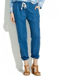 As easy to wear as your usual jeans // Madewell Indigo Linen Drawstring Pants in Medium Indigo