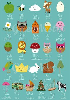 NEW A3 Size: learn abc with cute animals - nursery print by Green Nest, via Flickr