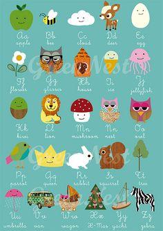 learn abc with cute animals - nursery print