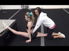 """Cheer Extreme Instructional Video Series Part 1 """"Heel Stretch"""" for Flyers--- Really good tips, also addresses a big pet peeve of mine, hip rotation, its not to the side, its in front."""
