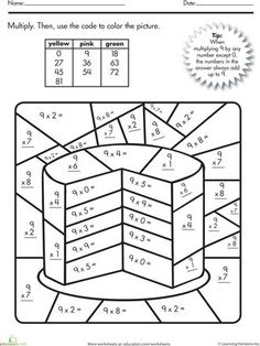 Multiplication Color Number Cake Number Cakes Math Worksheets Color By Number Multiplication Math Coloring Worksheets, Multiplication Worksheets, Number Worksheets, Multiplication Strategies, 3rd Grade Math Worksheets, Math Fractions, Printable Worksheets, Printable Coloring, Free Printable