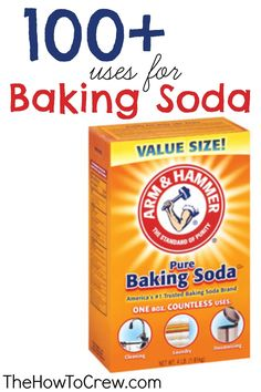 100+ Ways How To Use Baking Soda from www.TheHowToCrew.com.  Tips and tricks using baking soda to make your life easier. #bakingsoda #DIY #cleaning #beauty
