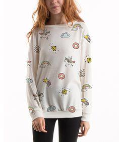 Off White Unicorns & Rainbows Pullover Sweatshirt by Fashionomics #zulily #zulilyfinds