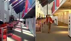 """Left, the office space designed for """"Her"""" in natural light. Right, Joaquin Phoenix in a scene from the film."""
