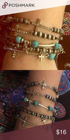 915187e926 Rhinestone Cross Bracelots 🎉Beautiful Rhinestone Crosses and Gem  Stone-like beaded bracelet 🎉 Jewelry