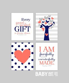 Coral and Navy Baby Girl Nursery art, Set of 4 8x10. Tree, Heart, Polka Dots, James 1 17, Psalm 139 14 ( S810197 ) on Etsy, $40.00