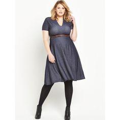 Lost Ink Curve Skater Dress In Denim Jersey (£32) ❤ liked on Polyvore featuring dresses, white skater dress, skater dress, white jersey, jersey dress and denim skater dress