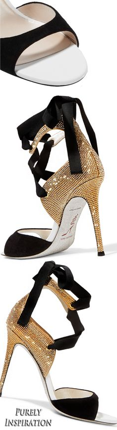 René Caovilla crystal embellished suede sandals | Purely Inspiration http://bellanblue.com