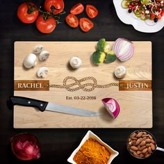 Cutting Board Personalized Wedding Gift Rustic Wedding Rope Knot Tie the Knot Wedding date  Laser Engraved Cutting Board Anniversary Gift